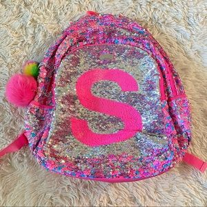 "Justice Pink Flip Sequin ""S"" Monogram Backpack"